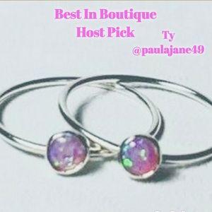 🎉2 Sterling Silver & Pink Fire Opal Rings, 6